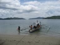 Banca anchored at island