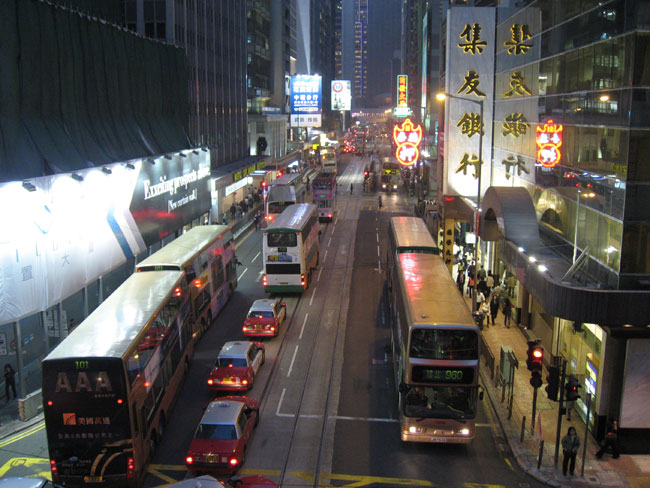 Busy Hong Kong street at night